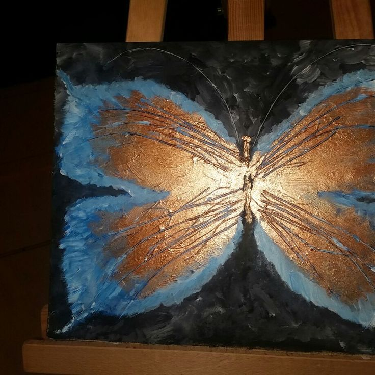 Butterfly painting in wood acryl