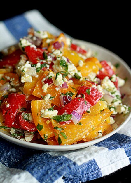 :)(: Roasted Pepper & Feta Salad