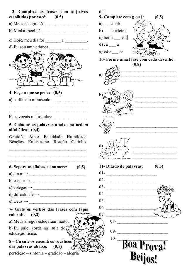 Avaliacao Bimestral De Portugues 1º Bimestre Avaliacao