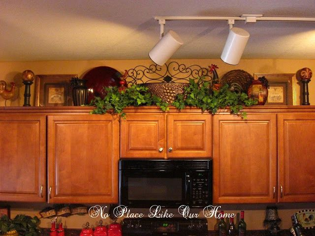 Pretty Above Cabinet Decor. No Place Like Our Home: New Kitchen Vignetteu0027s