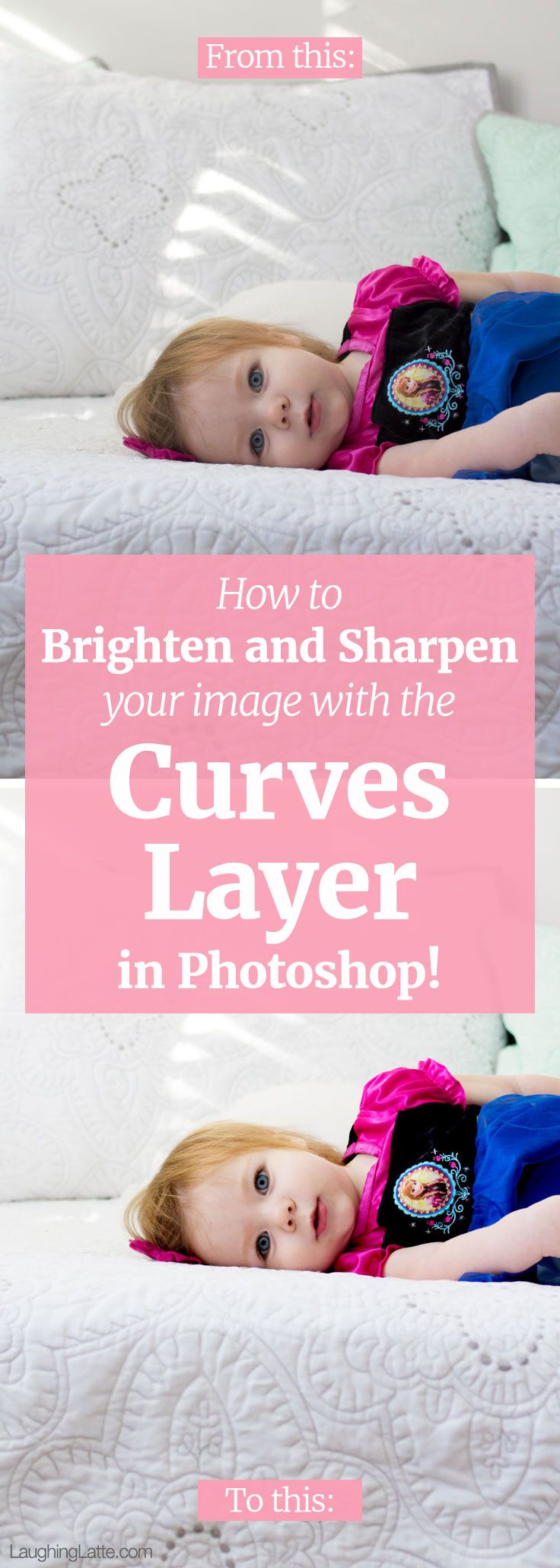 How to brighten images and sharpen details in your pictures using the curves layer in Photoshop!