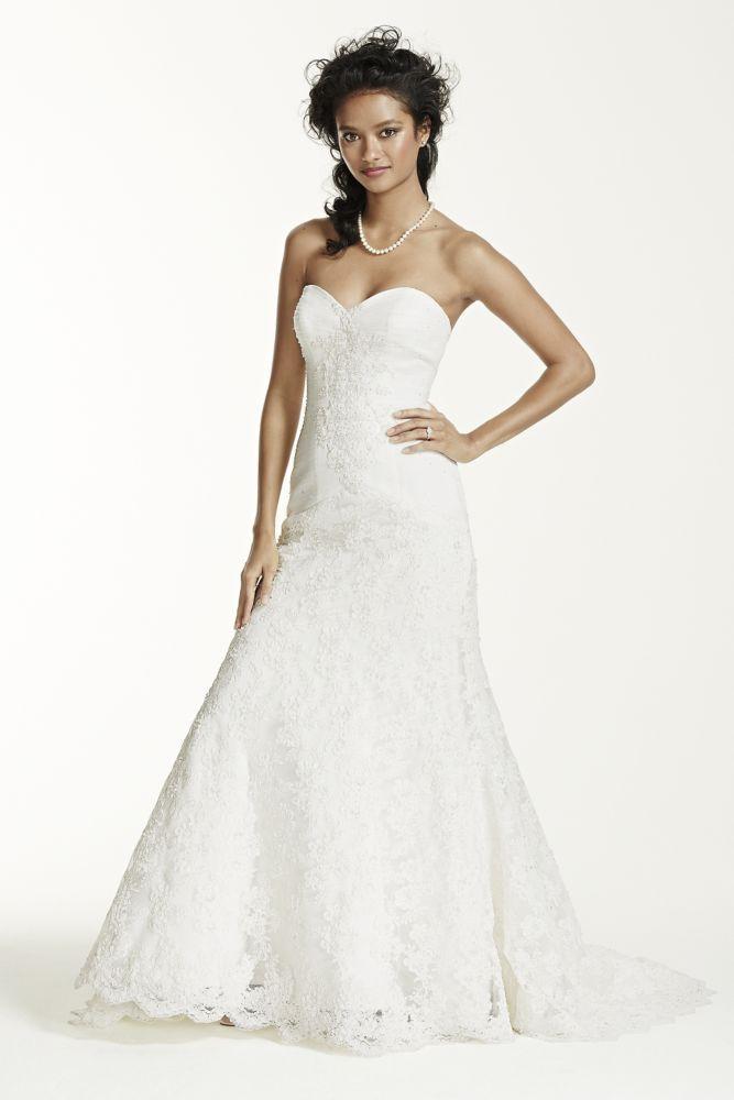 750 oleg cassini sweetheart beaded lace trumpet wedding for Beaded trumpet wedding dress