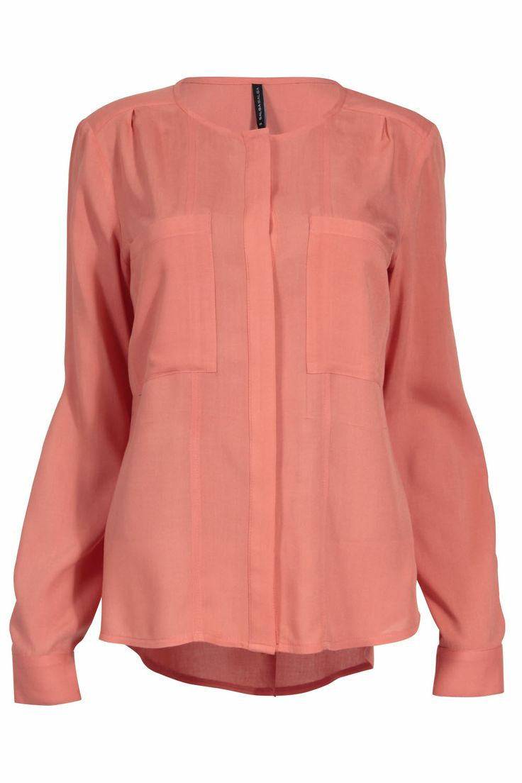 Blusa coral de manga larga #mayo #coral #salsa #tendencia
