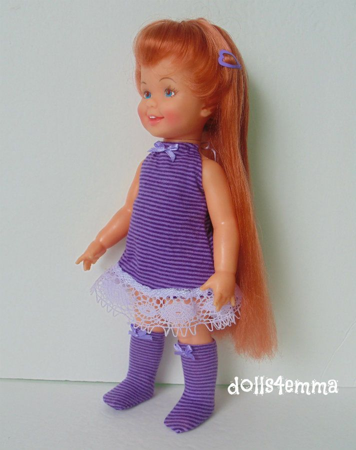 "GO-GO CINNAMON (purple) - Dress, Boots and Hairclip for Ideal 12"" Cinnamon dolls - available on Ebay by DOLLS4EMMA"