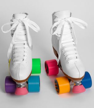 Colorblock Roller Skates. My first pair of skates were EXACTLY like this!: Old Schools, Middle Schools, Rollers Derby, 80S Kids, Rollers Skating, Rainbows, Pom Pom, Random Stuff, Colorblock Rollers