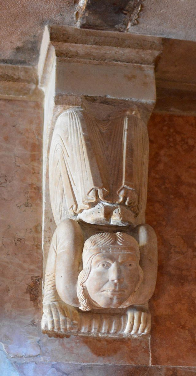 Acrobat as Interior sculpted support. Art in this exact pose date back to early Greek settlements in ancient Italy and Iberia. Modena Cathedral (Duomo) Romanesque period. Building began in 1066.