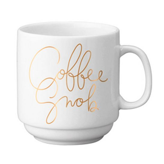 """State the obvious with our 12 oz. stackable porcelain mugs. Gold foil. Of course. Mug Height: 3.625"""" Not a fan of microwaves. Hand wash recommended."""