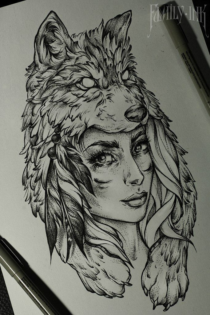 Girl head tattoosketch by Family Ink  #tattooart #tattoosketch #wolf #feather…