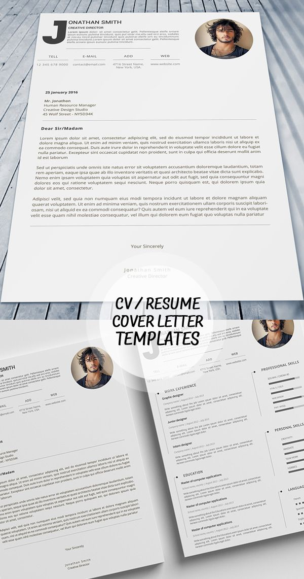 18 professional cv resume templates and cover letter - Templates For Cover Letters For Resumes