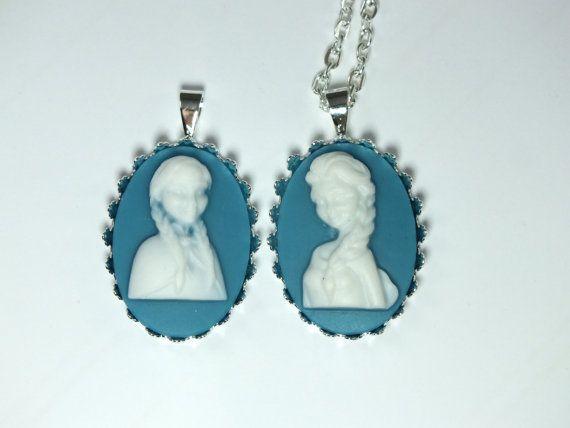 Cameo Necklace Victorian Elsa Anna Frozen Sisters Princess 2 Cameos Silver Chain