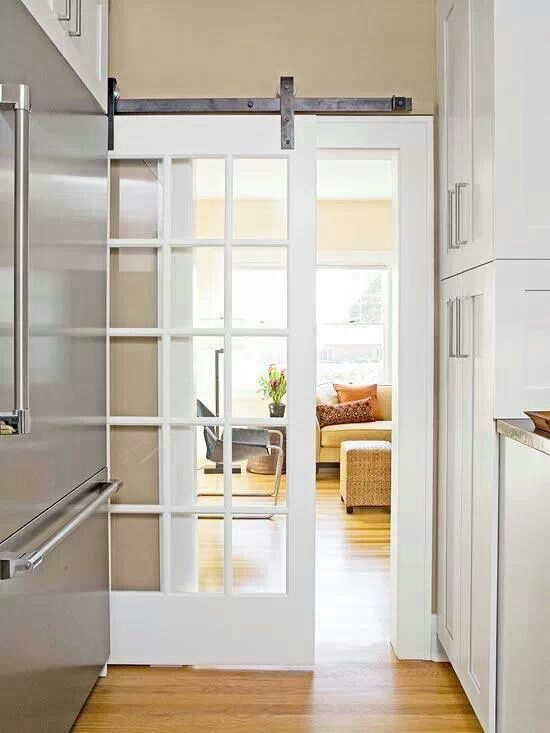 Idea for a compromise to a pocket door for the bathroom!