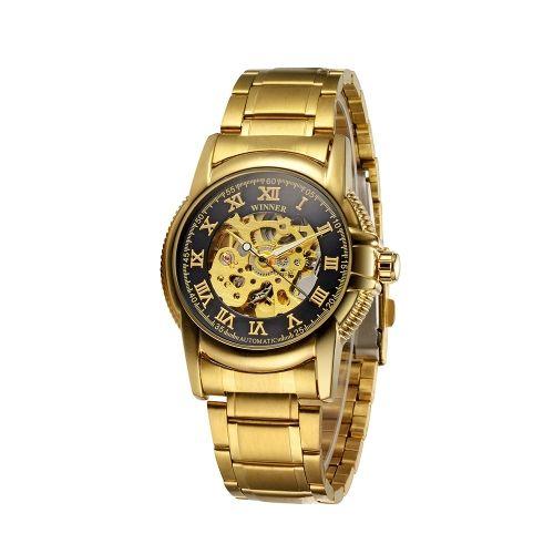 """Часы winner """"Скелетоны"""" Скелет автоподзаводом автоматические механические часы класса люкс Золотой ремешок Бизнес аналоговые наручные часы для мужчин"""