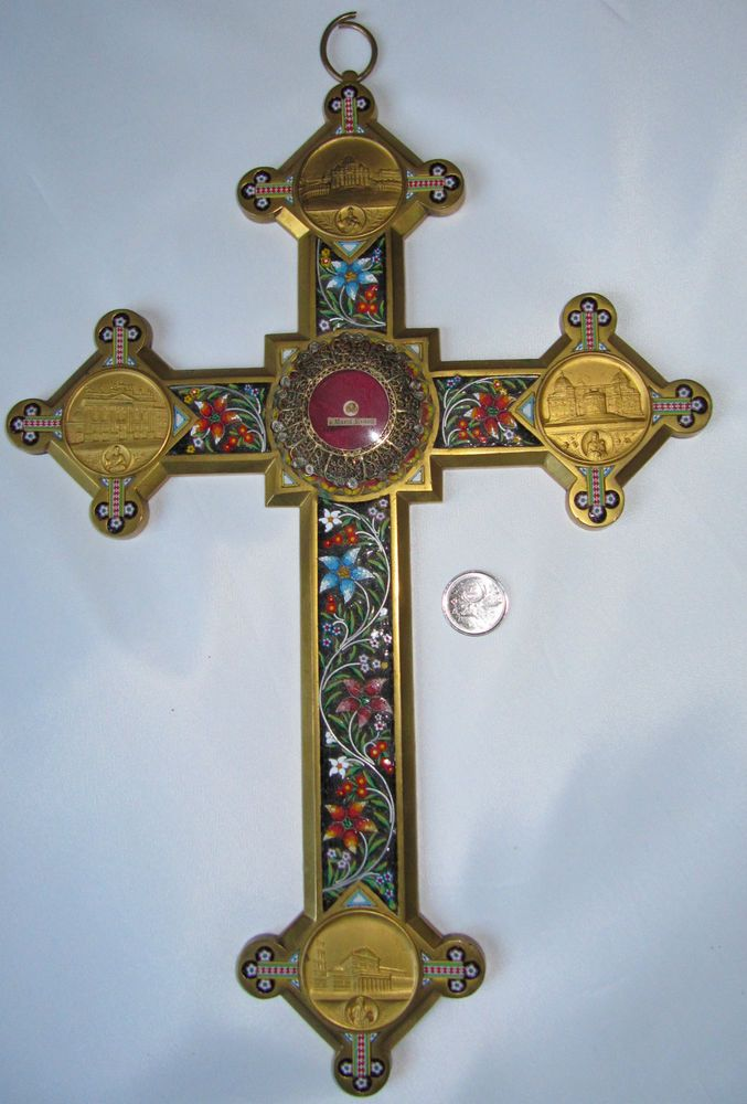 Antique Micro Mosaic Brass Crucifix With Relic S Marco