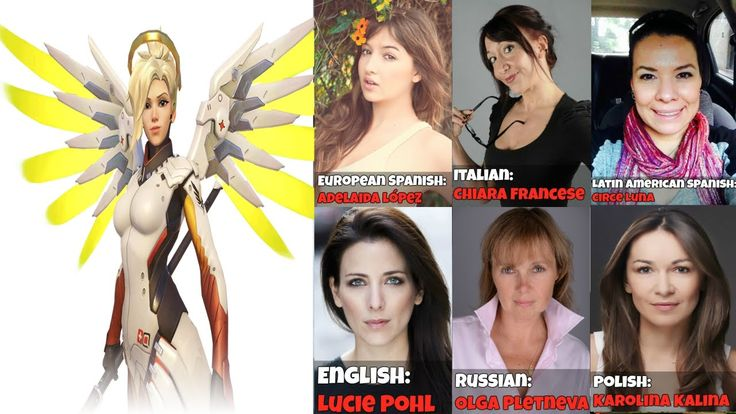 || The Many Faces Of Mercy || Voice Lines Overwatch Voice Actors