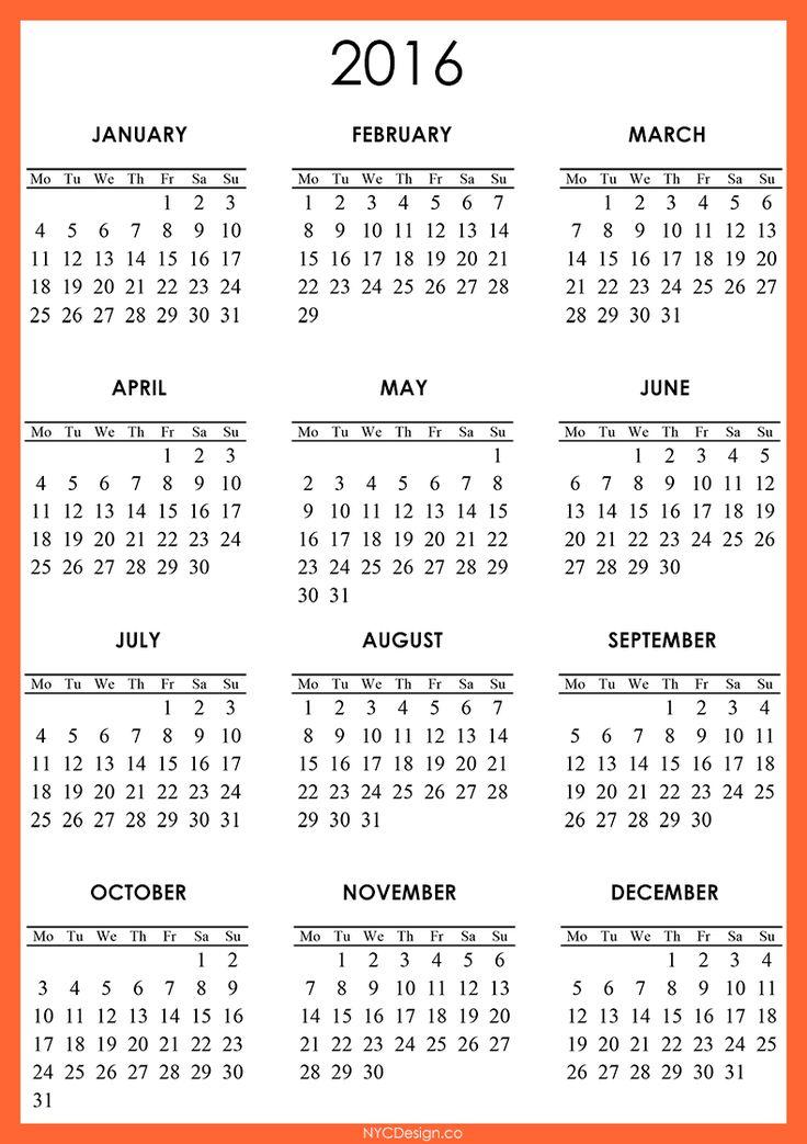 December 2016 calendar printable one page