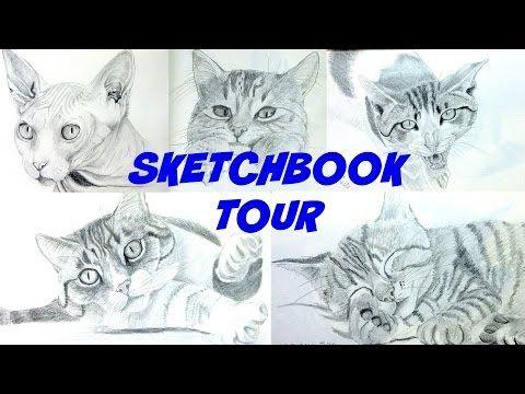 Sketchbook Tour - Cats (graphite pencils) #001 to #050