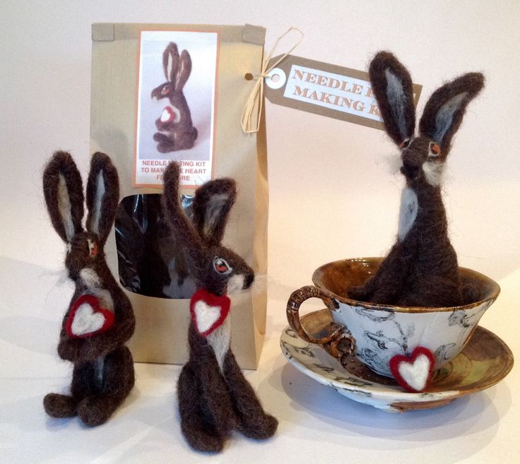 A personal favourite from my Etsy shop https://www.etsy.com/listing/199542899/kit-to-make-one-needle-felted-hare-from