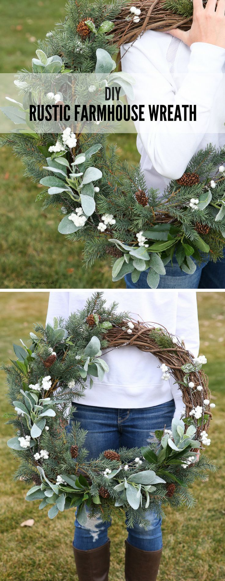 Learn how to make a Rustic Farmhouse Wreath with this simple Step-by-step tutorial! This wreath is a simple yet fresh wreath perfect for your winter decor!