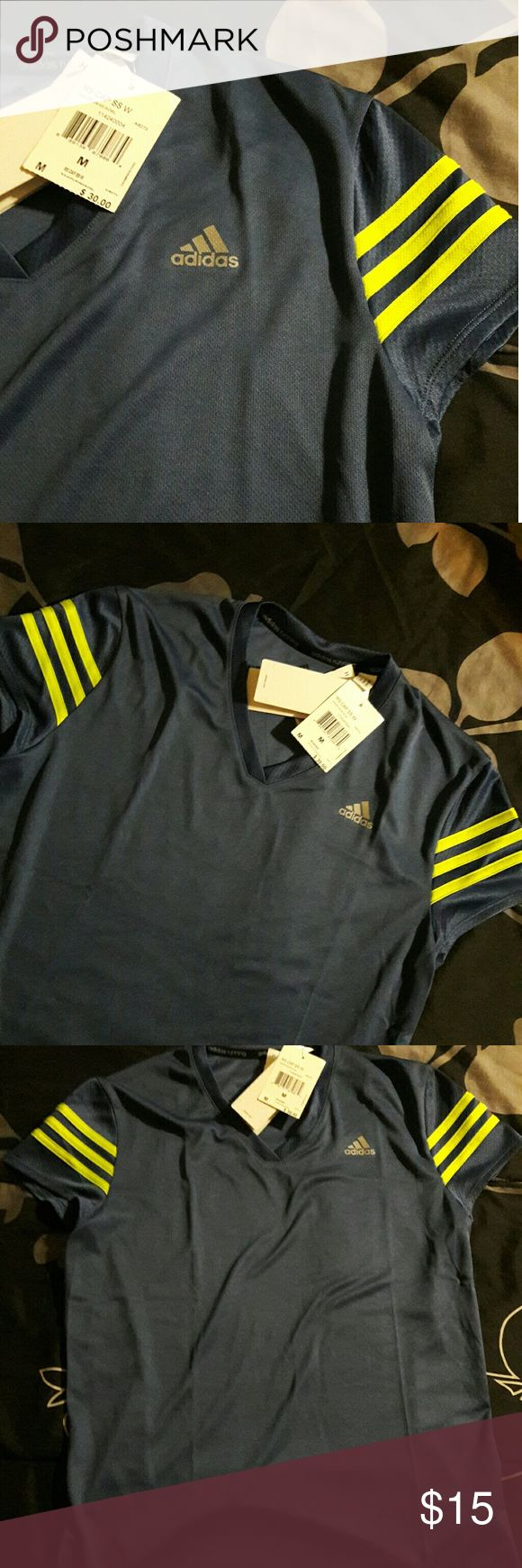 NWT Adidas workout shirt Blue-gray shirt with bright yellow lines Perfect for gym/running Adidas Tops