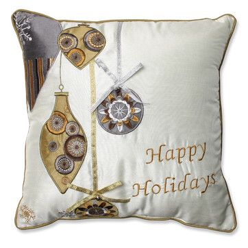 Holiday Ornaments Polyester Throw Pillow
