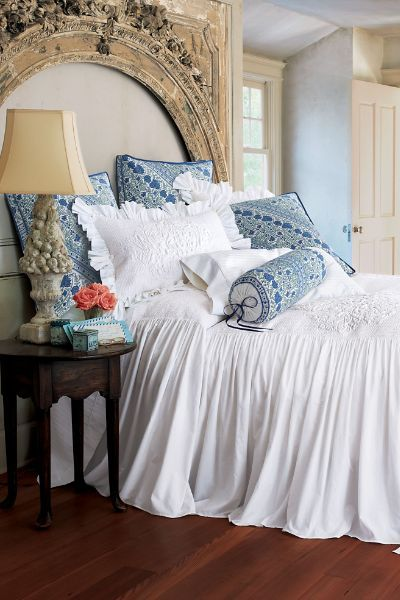 Santorini Skirted Coverlet - This gives me the idea to sew a skirt onto a vintage bedspread top.
