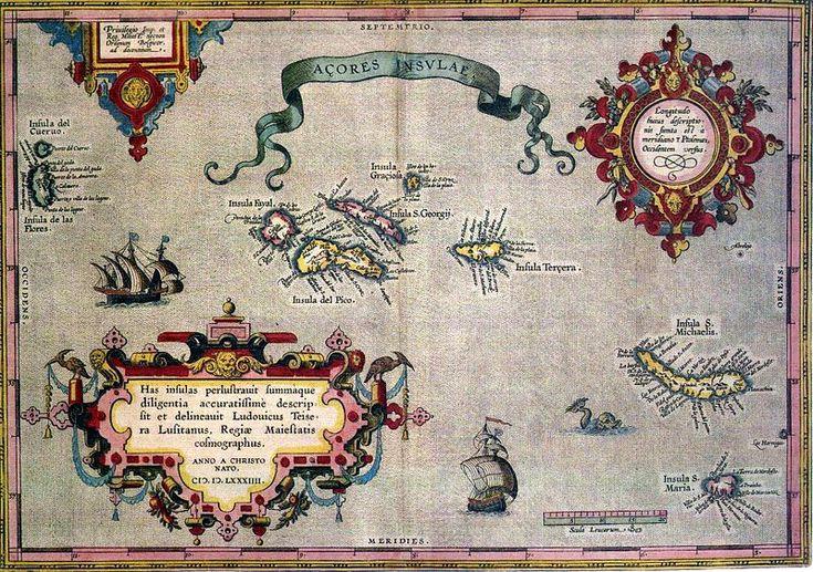 Mapa antiguo de las Azores de 1584