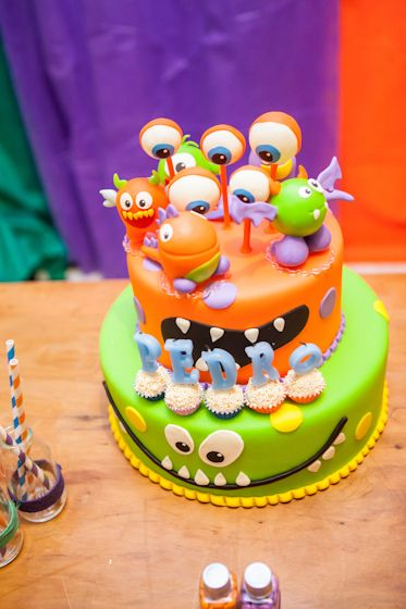 Awesome cake at a Monster party!  See more party ideas at CatchMyParty.com!  #partyideas #monster