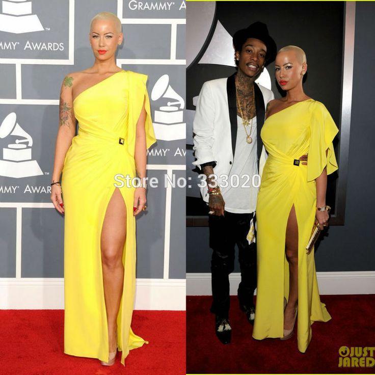 Одно плечо желтый шифон янтарь роза платье 54-ой грэмми красный ковёр платье знаменитости вечернее платье