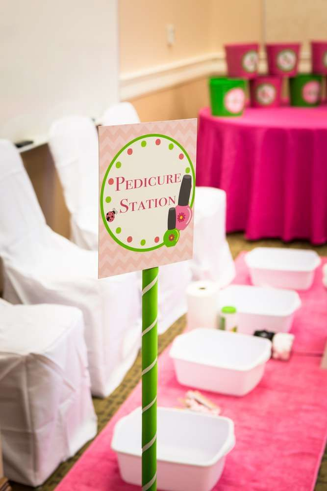 Pedicure station at a Spa Birthday Party!  See more party ideas at CatchMyParty.com!