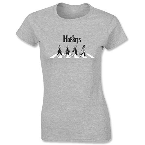 The Hobbits Beatles Abbey Road Lord Of The Rings Women's T-Shirt Heather Grey Large