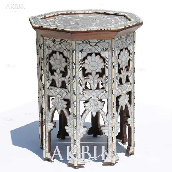 Id 874 Rosa Mother Of Pearl Table Pearls Moroccan Furniture