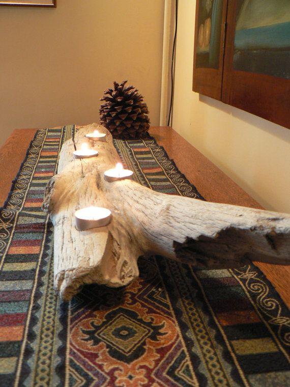 Driftwood candle centerpiece, Beach decor, Rustic candle holder, rustic home decor, Cabin decor, Beach, Seaside candle holder