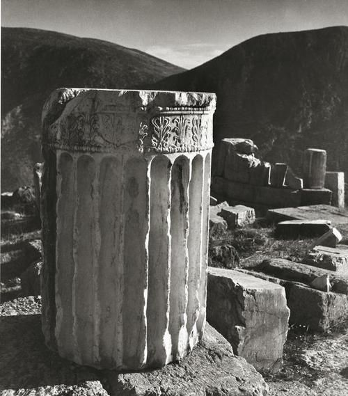 Ionic column, Delphi, Peloponnese, Greece, 1937. Photo by Herbert List .
