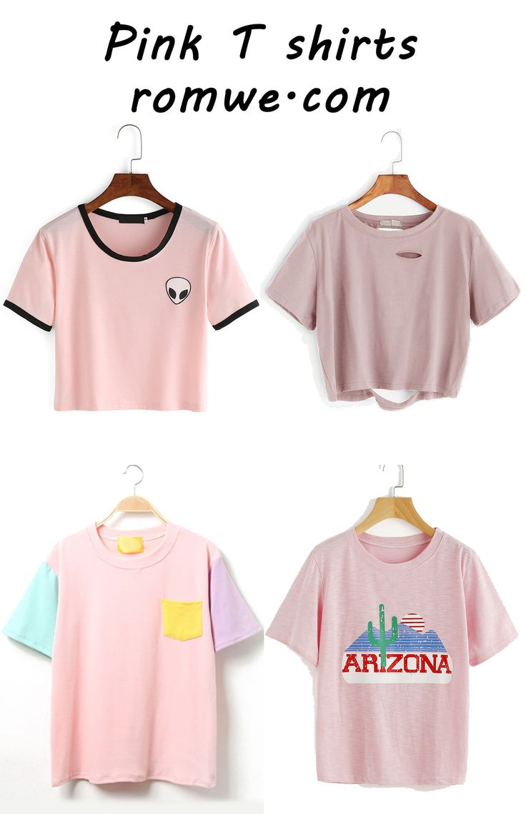 Pink T Shirts With Soft Material And Great Price Romwe