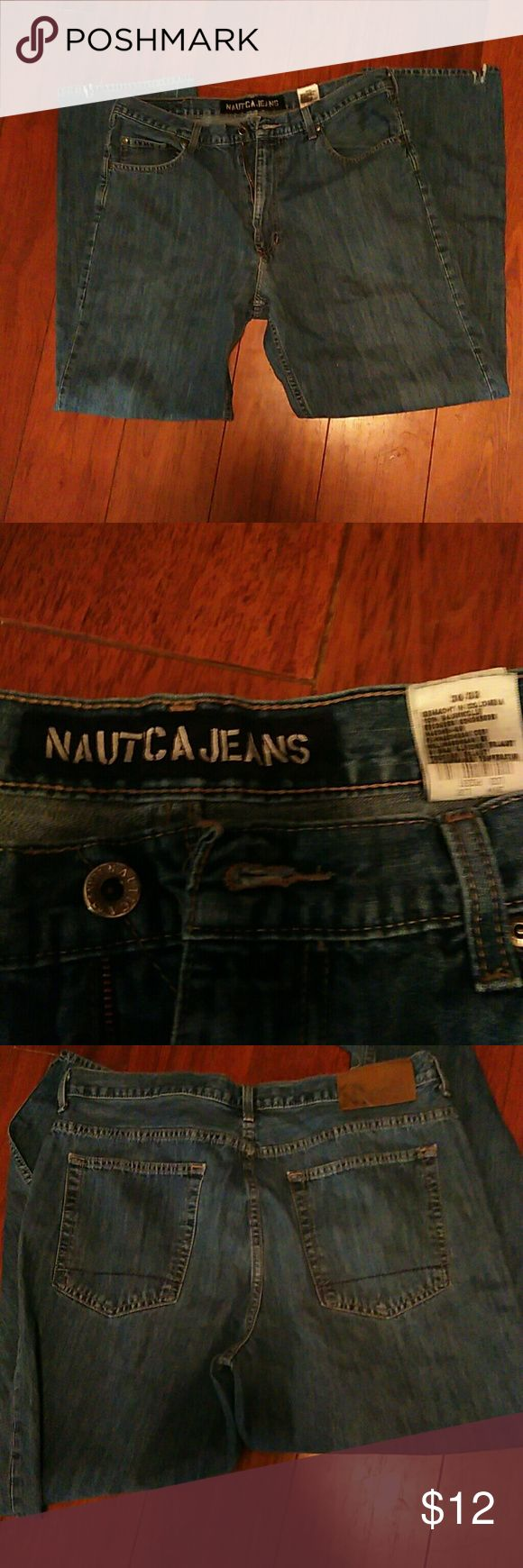 Mens jeans Nautical jeans, twice worn....small slit in back of leg to go over boots....they are straight leg fit Nautica Jeans Straight