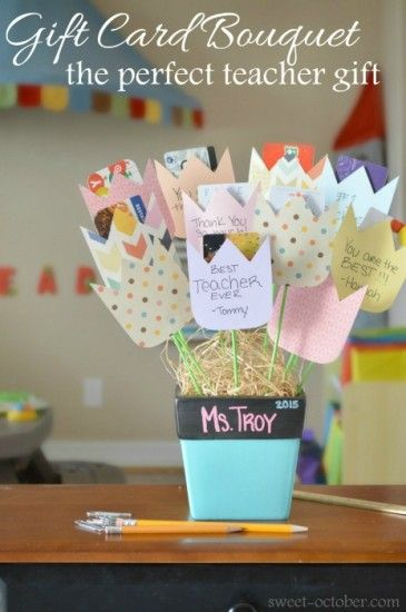 Show your child's teacher just how much you appreciate them with this perfect DIY Teacher Gift craft tutorial; a Gift Card Bouquet!