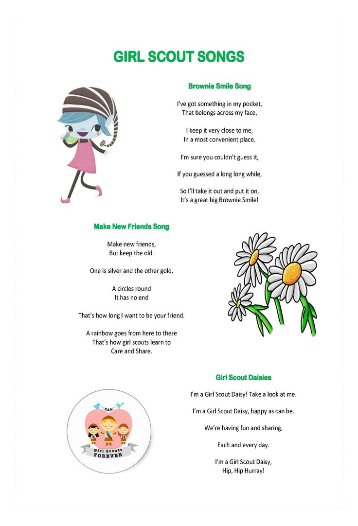 The traditional girl scout songs. Good thing for any girl scout to learn.