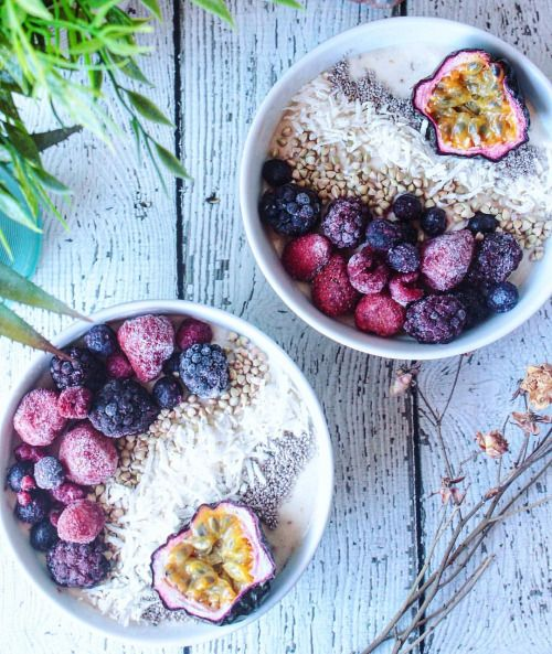 "thevibrant-vegan: "" Father's Day breakfast! One for me, one for dad- banana nice cream topped with berries, buckinis, coconut, chia seeds and passion fruit  Happy Father's Day to the best dad in the world- thanks for trying something new for..."