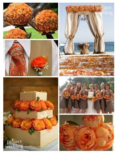 Orange and Tan Wedding Inspiration - Weddings By the Color | Weddings ...