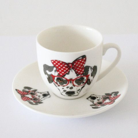 Cute Dalmatian Porcelain Turkish Coffee Set for Two