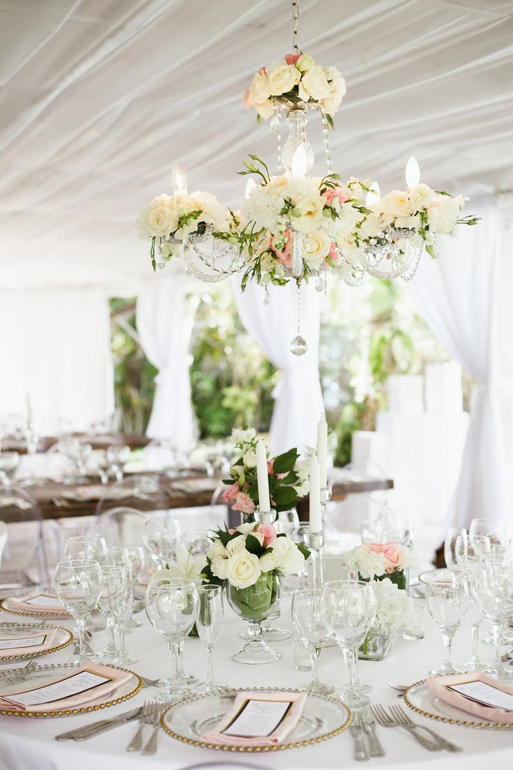 345 best wedding centerpieces images on pinterest hanging centerpiece chandelier with fresh flowers 3 wedding venue kukua punta cana dominican arubaitofo Image collections