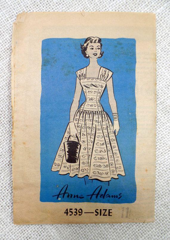 Vintage Muster Anne Adams 4539 50er Jahre Rockabilly retro Kleid voller Rock Büste 29 Tropfen Taille Sommerkleid Extra klein