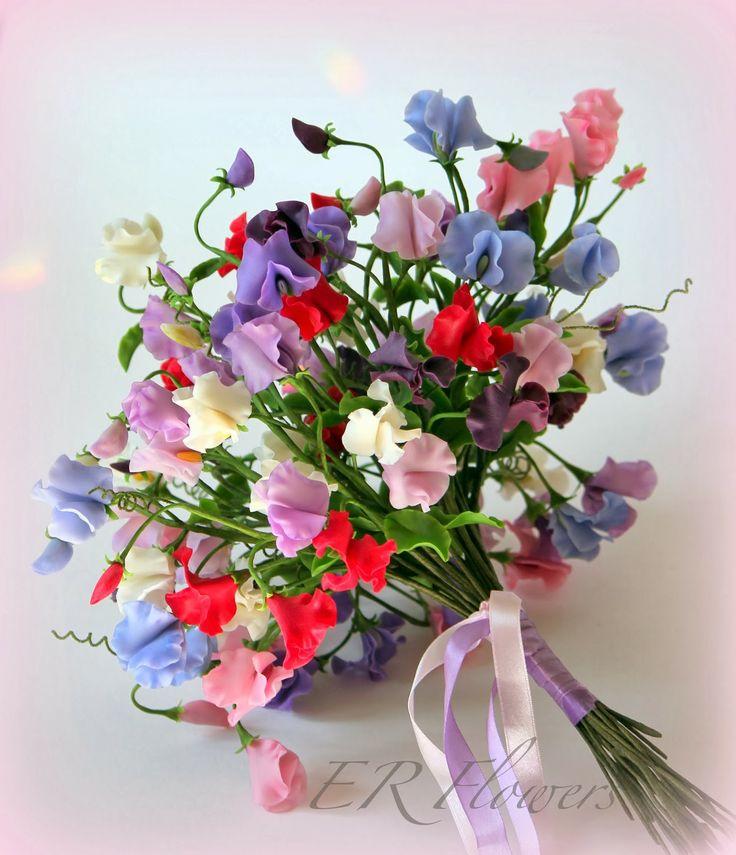 """ER Flowers. Arte en porcelana fria...: Ramo de novia """"Sweet pea""""..."""