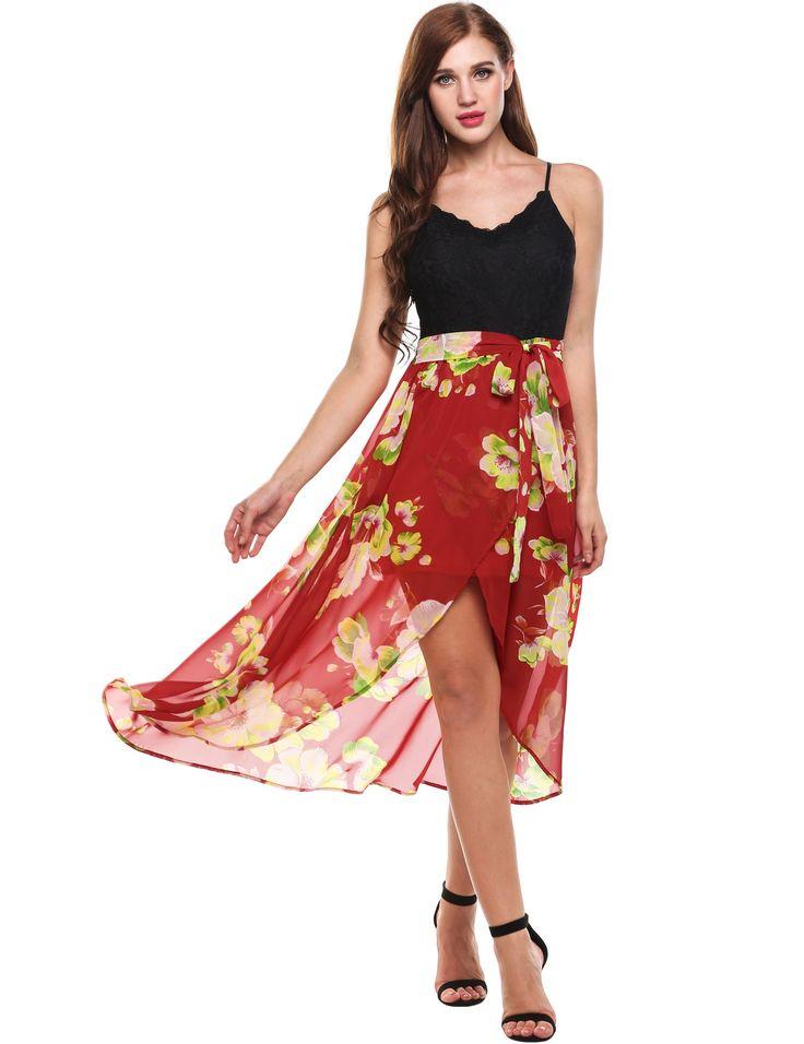 Black Sleeveless Spaghetti Straps Lace Patchwork V Neck Pullover Maxi Dress dresslink.com