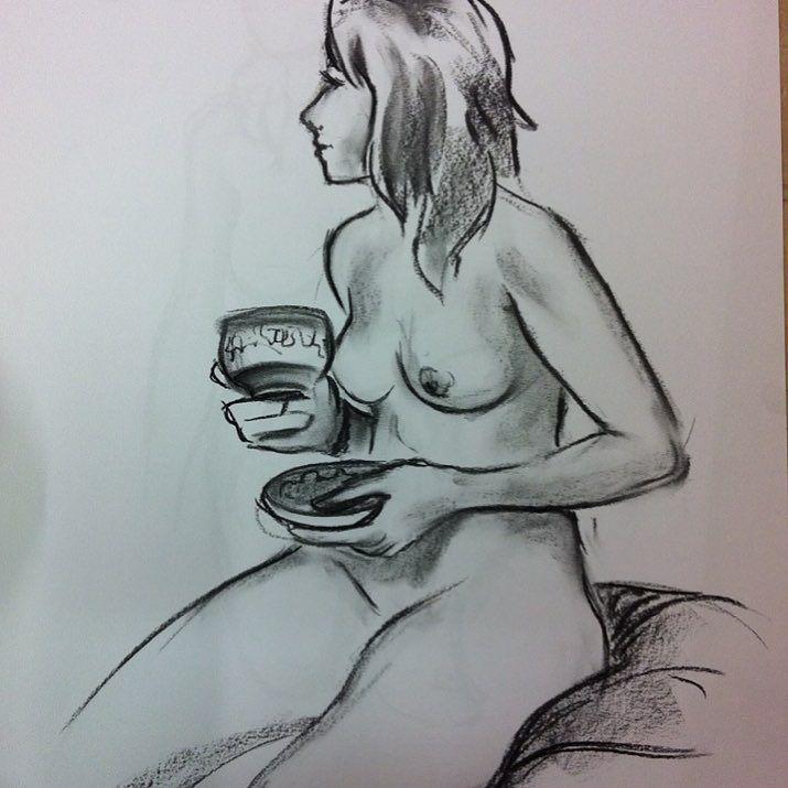 tea? #lifedrawing#woman#nude#art#drawing#model#tea#cupoftea#draw