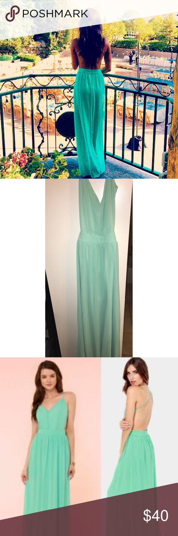 Lulus teal maxi dress 👗 Like New! I wore this dress one time! Low cut and strappy back - size XS - perfect for a bridesmaid dress or other special occasion / wedding. Lulu's Dresses Maxi