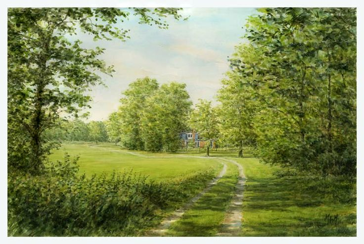by Eduard Moes, Dutch painting artist.  watercolor, Driveway