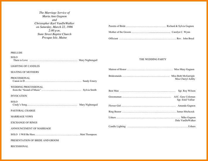 Sample Wedding Programs Program Template 1
