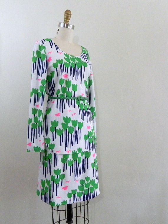 70s Mod Dress .. 2pc Op Art Skirt and by bottleblondevintage, $25.00