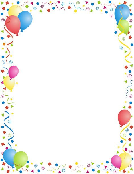 A page border with a party theme. Use for New Year's, birthdays, or any other party occasion. Free downloads at http://pageborders.org/download/party-border/